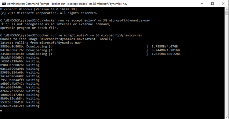 command prompt docker