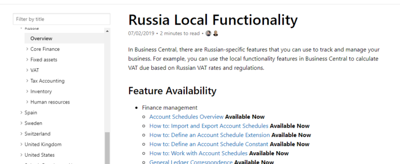 Microsoft Dynamics 365 Business Central Russian localization is now available at docs.microsoft.com
